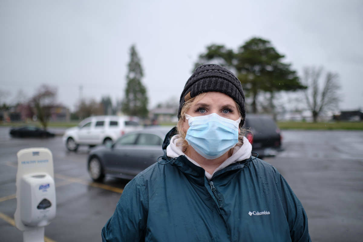 Clinical Services Director Cherity Bloom-Miller oversees operations at a temporary COVID-19 vaccine site organized by the Siletz Community Health Clinic for tribal members and their families in Salem. (Photo by Alex Milan Tracy for Underscore.news)