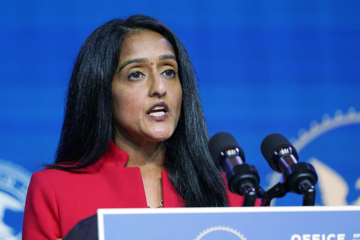 In this Jan. 7, 2021 file photo, Associate Attorney General nominee Vanita Gupta speaks during an event with President-elect Joe Biden and Vice President-elect Kamala Harris at The Queen theater in Wilmington, Del. More than 75 former U.S. attorneys are throwing their support behind Gupta for associate attorney general and urging congressional leaders to quickly confirm her to the post. Gupta has been nominated for the No. 3 position in the Justice Department. (AP Photo/Susan Walsh)