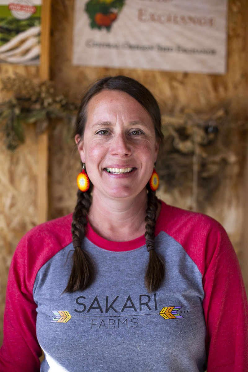 Spring Alaska Schriener, Chugach Alaska Corporation and the Valdez Native Tribe, is the owner and principal ecologist at Sakari Farms, where she also hosts educational tribal food events and cooking classes, and tends to her other business, Sakari Botanicals which incorporates plant material from the farm into hot sauces and teas. (Photo by Jessica Douglas)
