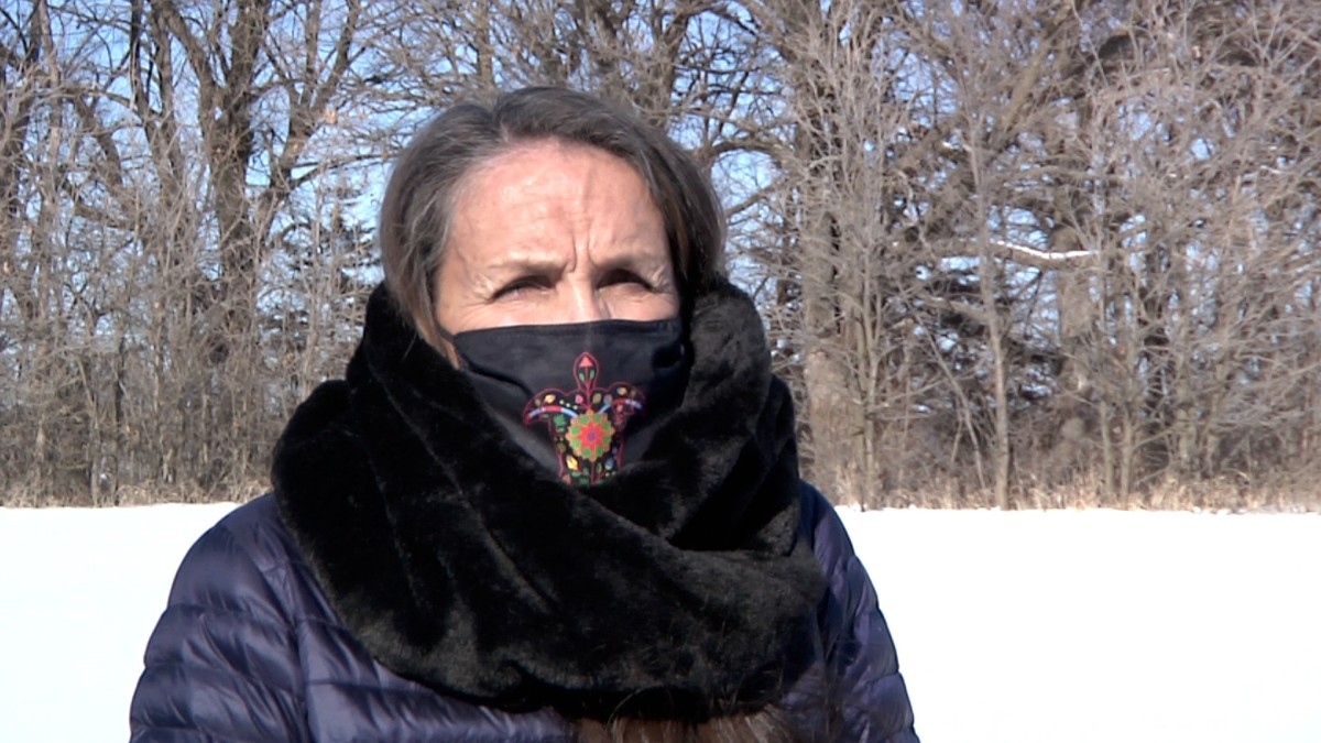 """Lower Sioux Indian Community citizen Pamela Halverson was her tribe's historic preservation officer in 2004 when talks began to repatriate 120 acres from the state of Minnesota to the community.""""The land has lots of stories behind it,"""" she said. """"Lots of people died in this area for this site and this reservation."""" The land was finally turned over Feb. 12, 2021. (Photo by Stewart Huntington)"""