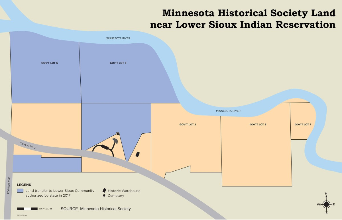 The state of Minnesota returned 120 acres of land to the Lower Sioux Indian Community on Feb. 12, 2021, but additional lands still remain under state control. (Map courtesy of the Minnesota Historical Society)
