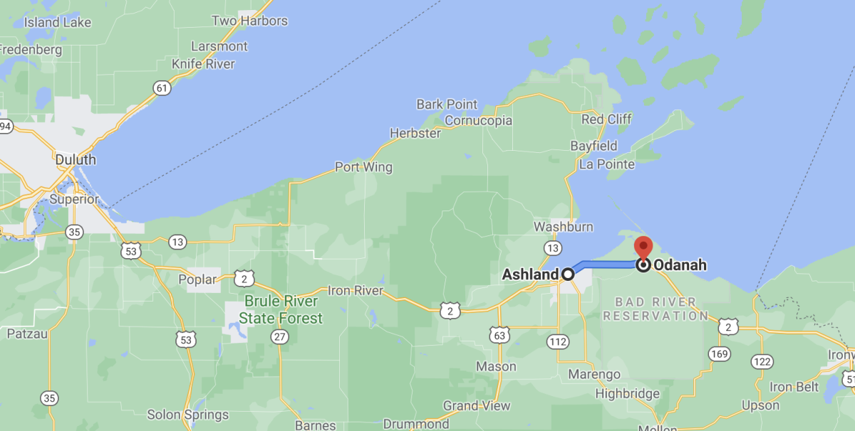 Ashland to the the Bad River Tribe's office. (Screengrab via Google maps)