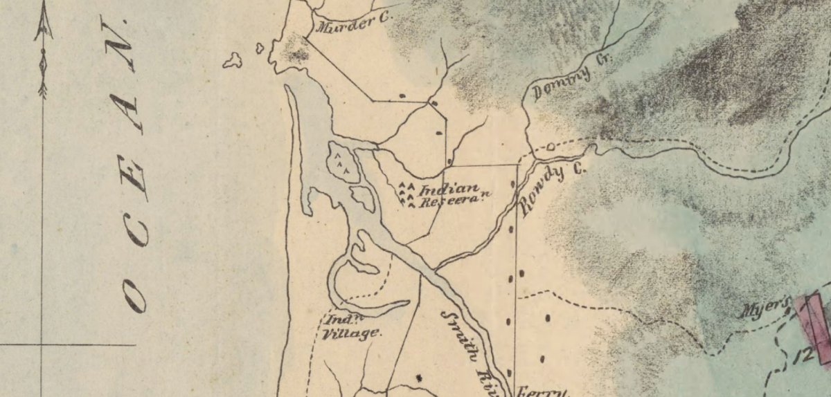 Pictured: 1863 Map of Smith River Indian Reservation.