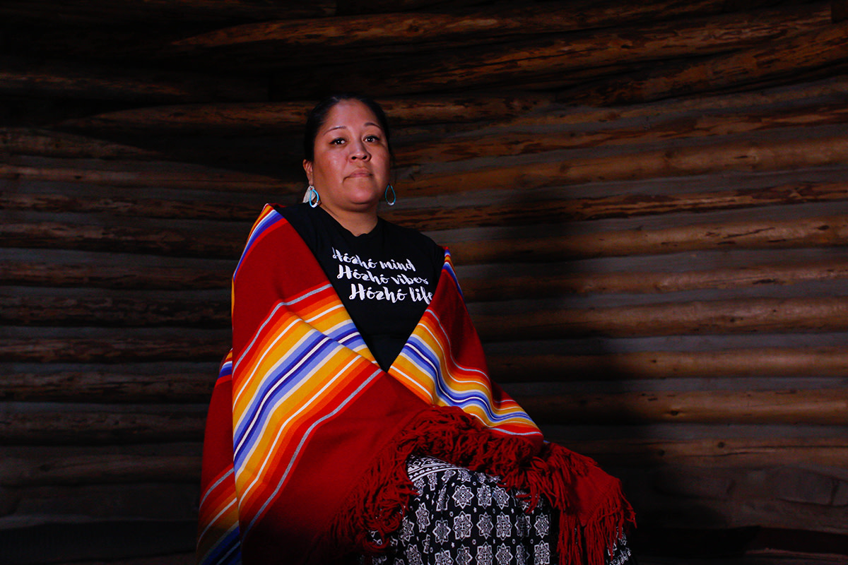 """Nicolle Gonzales, a Navajo nurse midwife and the founder and executive director of Changing Woman Initiative, poses for a photo at an Indigenous doula training in Window Rock, Arizona, on Thursday, Oct. 24, 2019. She believes it's important to have a safe space for Native women to talk about the health problems they face. """"The things that women experience, we don't always talk about,"""" she said. """"For me, holding a space and creating a space allows women to have those conversations, but also to heal and to build collaboration and support beyond this training."""" (Photo by Delia Johnson, Cronkite News)"""