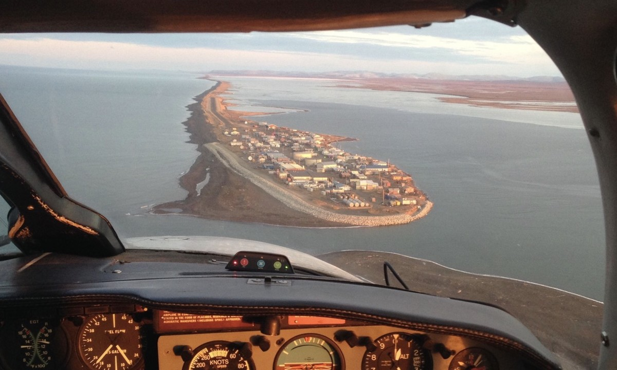 Aerial view of village of Kivalina, in Northwest Alaska, accessible only by boat, plane, and snow-machine.