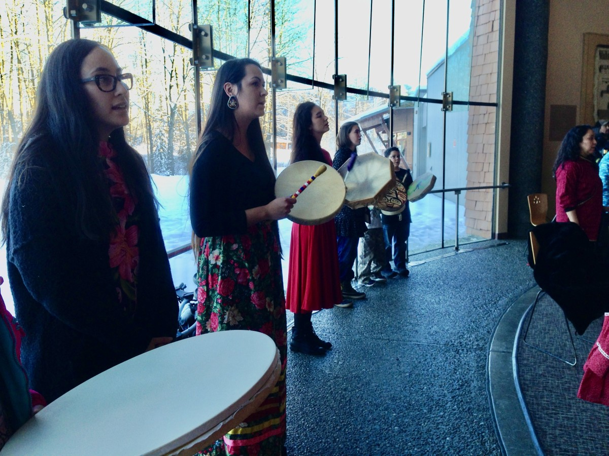 Shown here, some of the drummers who led the audience in singing the Women's Warrier song by Martina Pierre of the Lilwat Nation of British Columbia, Canada. (Photo by Joaqlin Estus)