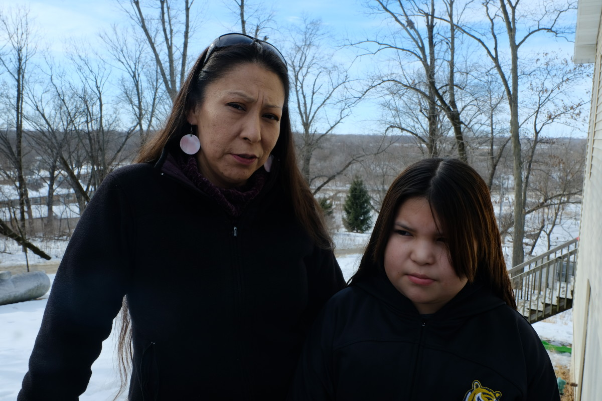 Meskwaki Settlement caucus precinct chairwoman Donnielle Wanatee and her daughter Loveena Jefferson, 11, at their home on the Settlement. (Photo by Mary Annette Pember)