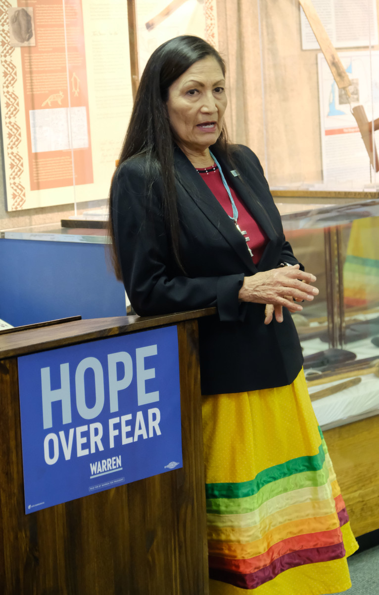 Rep. Deb Haaland, Laguna Pueblo and D-New Mexico, visited the Meskwaki Nation at the Meskwaki Tribal Museum. She talked with 30 people about her first year in Congress and encouraged them to caucus that night. (Photo by Mary Annette Pember)