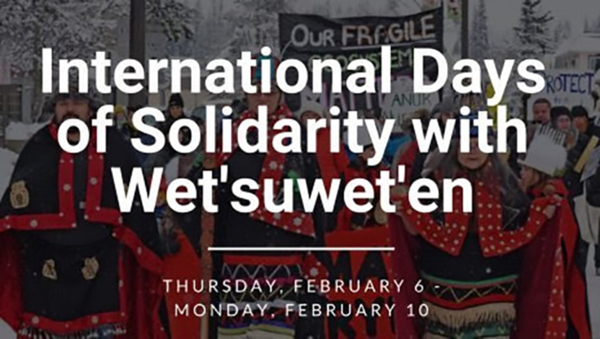 """Pictured: """"International days of solidarity with the Wet'suwet'en"""" flyer."""