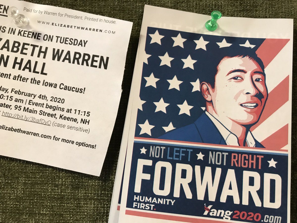 Stickers and signs posted all throughout the Keene State College iN New Hampshire while Pete Buttigieg delivered a speech to a crowd of 975 people. (Photo by Scarlett Lisjak)