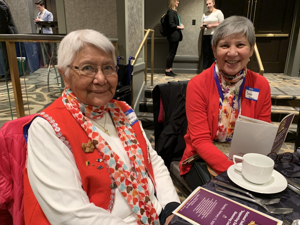 """(L to R) Frances Nannuack Kraus, 87 and from Kake, Alaska, attends her first """"Supporting Each Other"""" Honoring Lunch with her daughter Bambi Kraus. (Photo by Jourdan Bennett-Begaye)"""
