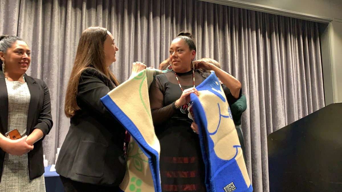 """Abigail Echo-Hawk, Pawnee, received one of the two Woman of the Year Awards at the 25th National Indian Women's """"Supporting Each Other"""" Honoring Lunch in Washington, D.C. (Photo by Jourdan Bennett-Begaye)"""
