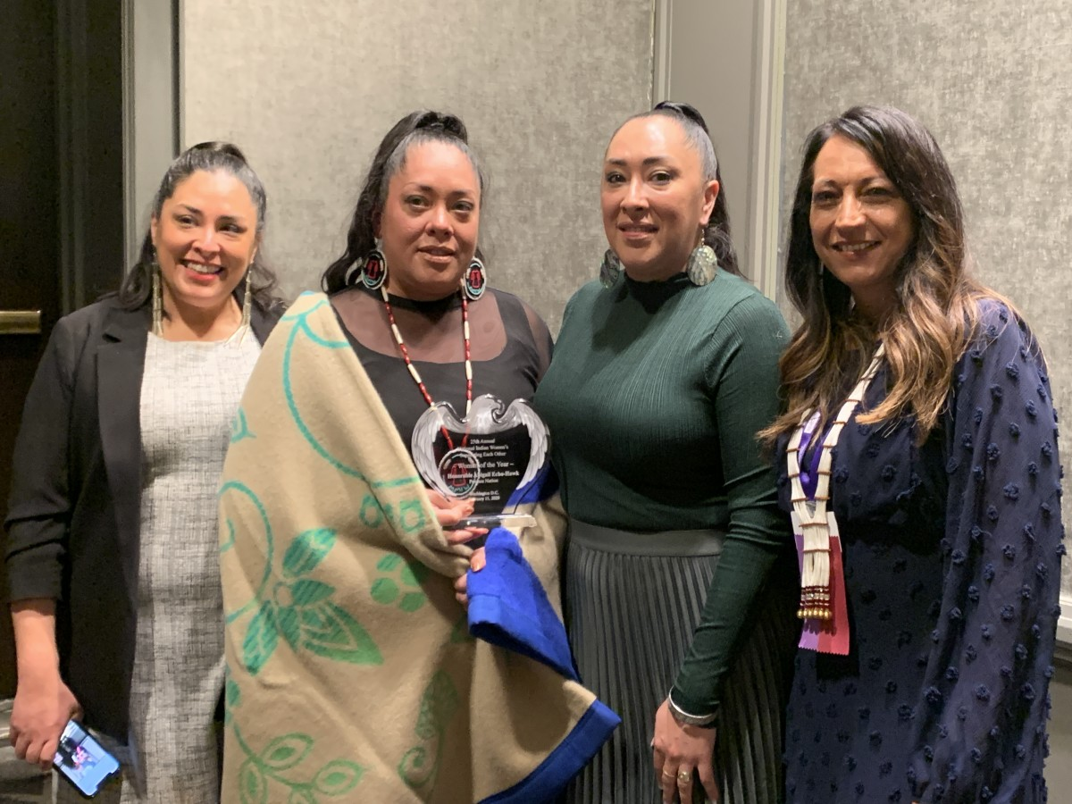 """Abigail Echo-Hawk, Pawnee, with her three sisters at the 25th National Indian Women's """"Supporting Each Other"""" Honoring Lunch in Washington, D.C. (Photo by Jourdan Bennett-Begaye)"""