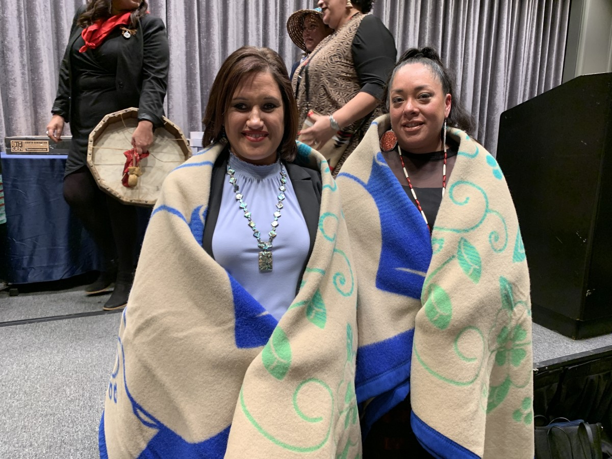 """Sandy and Abigail Echo-Hawk at the 25th National Indian Women's """"Supporting Each Other"""" Honoring Lunch in Washington, D.C. (Photo by Jourdan Bennett-Begaye)"""