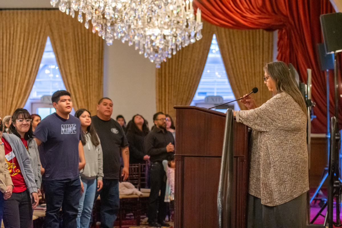 Tongva Elder Julia Bogany gave a land acknowledgment at the University of Southern California's Town and Gown ballroom Saturday, Feb. 1 for the Inter-Tribal Education Collaborative's sixth annual college exploration day. (Photo by Natasha Brennan)