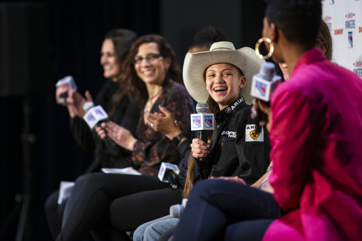 Najiah Knight was invited to a recent New York Rangers hockey game, where she participated in a girls and women's sports panel. (Photo MSG Photographer,Michelle Farsi )