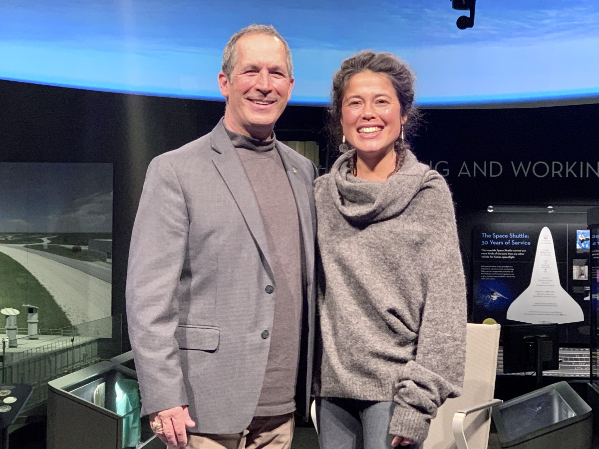 John Herrington, Chickasaw and the first Native American to travel in space, and pilot Ariel Tweto, Inupiaq, at the Smithsonian National Air and Space Museum in Washington, D.C. (Photo by Jourdan Bennett-Begaye)