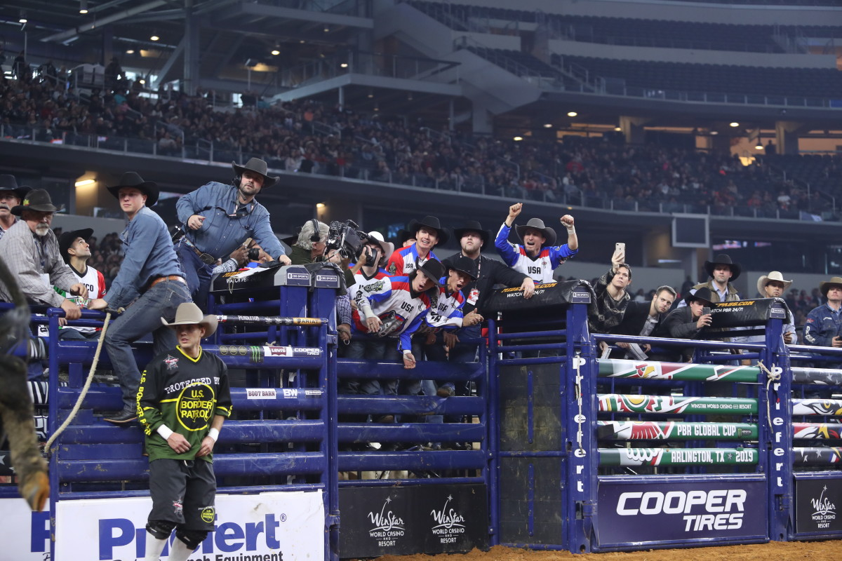 Team USA Wolves celebrate during 2019 PBR Global Cup (Photo by Andy Watson, Bull Stock Media)