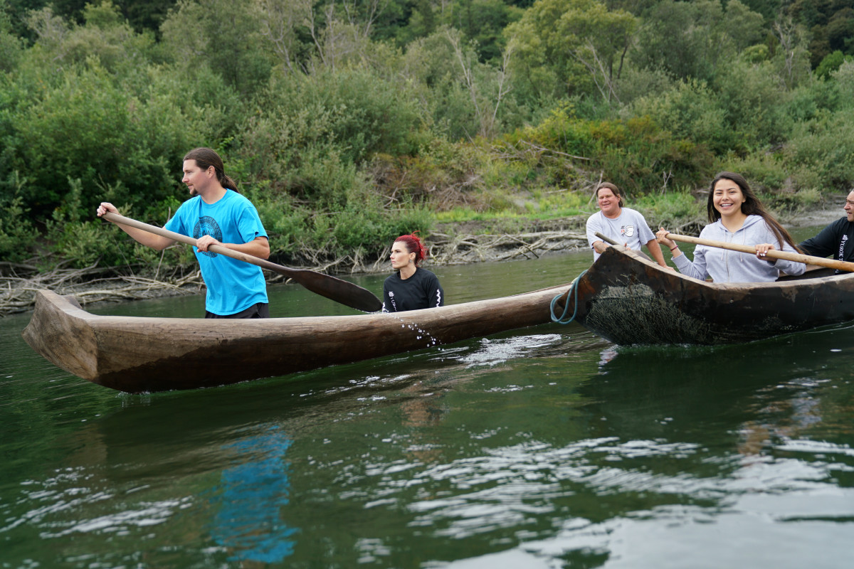 Pictured: A Yurok group on the Klamath River in Redwood Yurok Canoe Tour)
