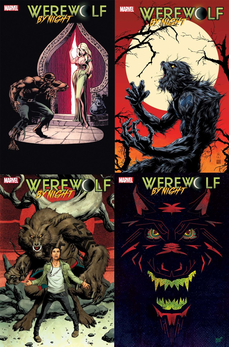 Four of the covers by Marvel. The bottom right is by Jeffrey Veregge. (Marvel)