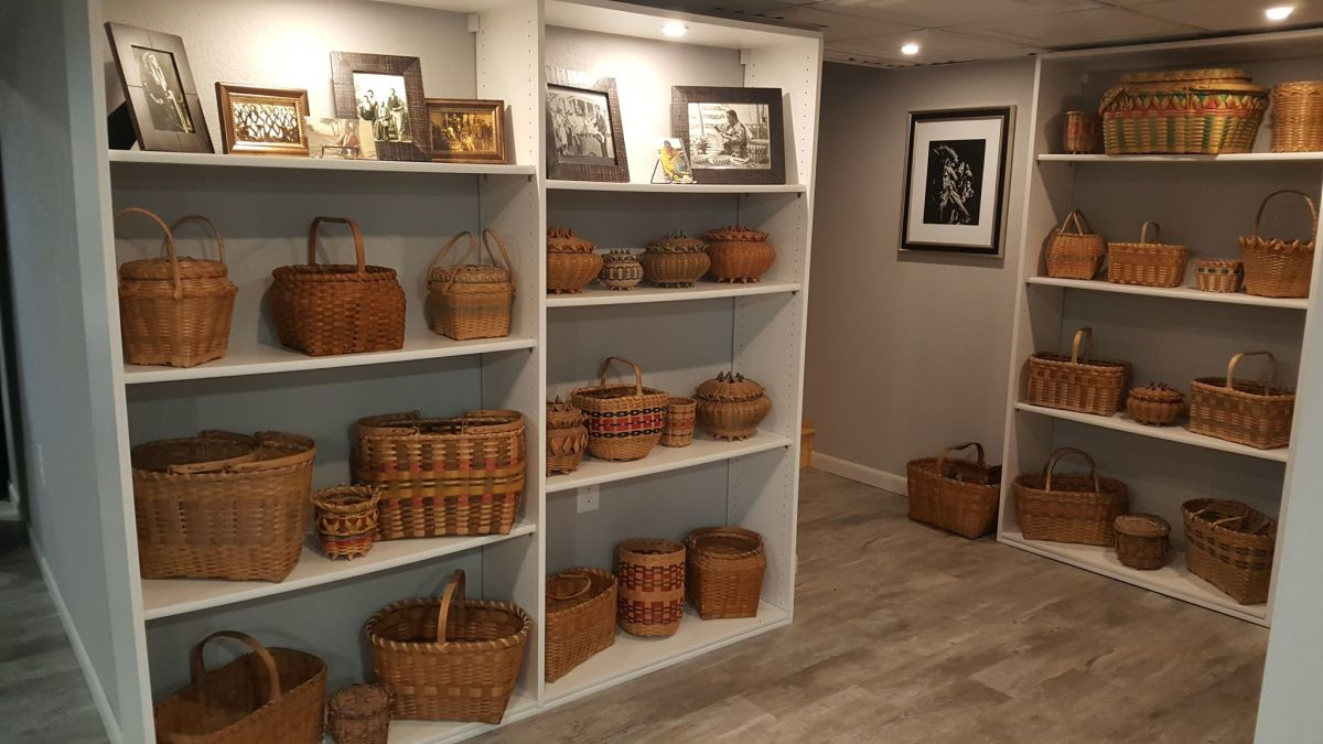 Tricia Zunker, Ho-Chunk, turned part of her house into a Ho-Chunk basket gallery. Her grandmother and other relatives were Ho-Chunk basketmakers. She says the baskets symbolize perseverance and resilience. (Photo courtesy of Tricia Zunker.)