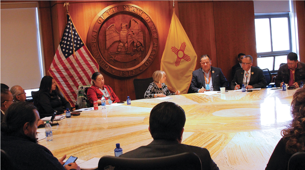 """Pictured: New Mexico Governor Lujan Grisham said she has met with all of the Senate and House committee chairs, who told her: """"This is the strongest cabinet in the history of the state of New Mexico."""""""