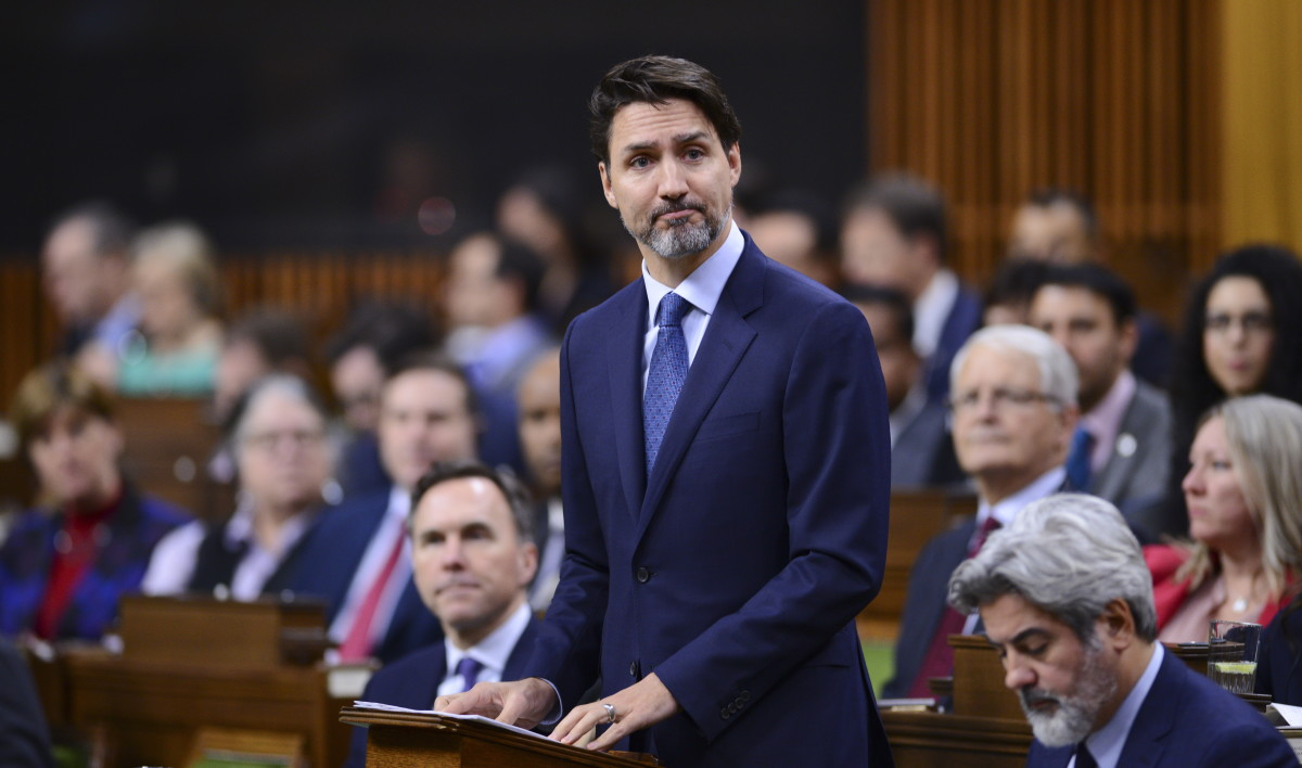 Prime Minister Justin Trudeau delivers a statement in the House of Commons on Parliament Hill in Ottawa on Tuesday, Feb. 18, 2020, regarding infrastructure disruptions caused by blockades across the country. (Sean Kilpatrick/The Canadian Press via AP)