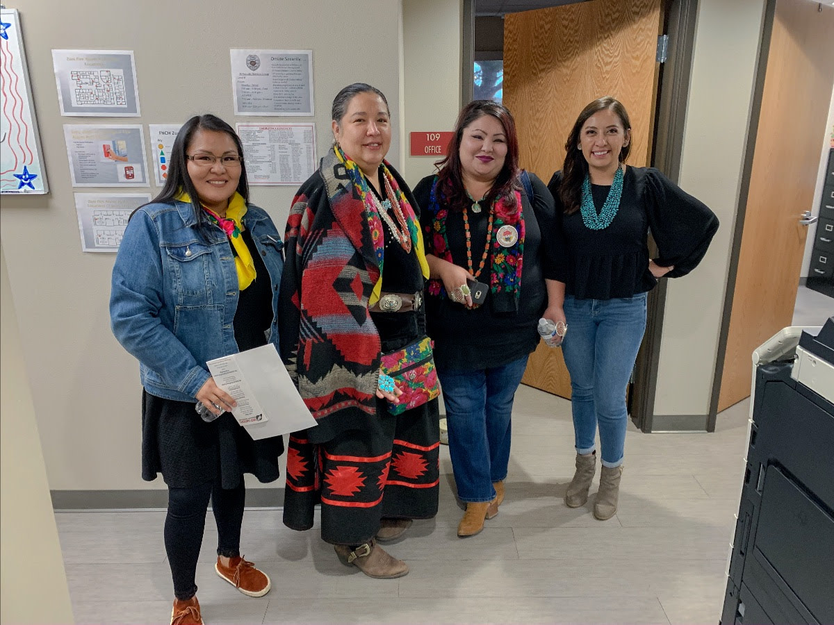 Pictured: Council Delegate Amber Kanazbah Crotty and members from the Missing & Murdered Diné Relatives met with First Nations Community HealthSource staff on Friday, February 21, 2020 to discuss services for Navajo human and sex trafficking survivors and the need for transitional housing in Albuquerque, New Mexico.