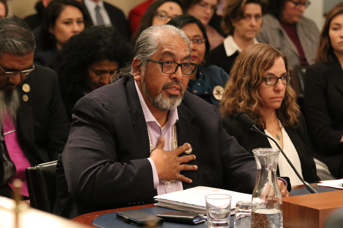 Tohono O'odham Nation Chairman Ned Norris Jr. speaks during the Subcommittee for Indigenous Peoples of the United States oversight hearing on destruction at the border wall on Wednesday, Feb. 26, 2020. (Photo courtesy of House Committee on Natural Resources: Democrats)