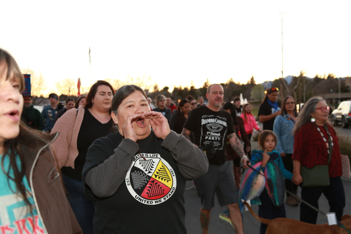 Pictured: California tribes and supporters rallied and marched in Redding March 2, 2020 with local Indigenous people to protest the Department of Water Resources' Delta Tunnel proposal.