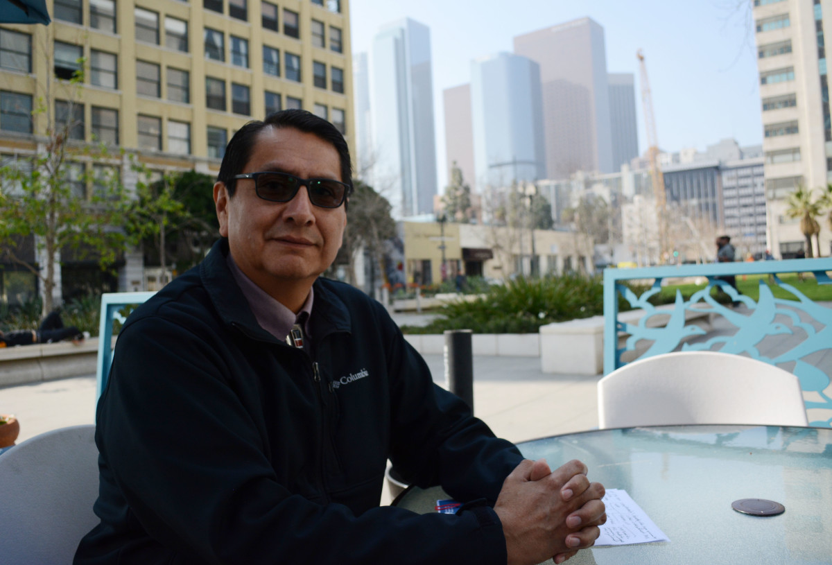 """Navajo Nation President Jonathan Nez and members of his administration traveled to Los Angeles to push for continued energy partnerships with the city. """"We want to be the leaders in renewable energy in Indian Country,"""" he told the City Council. (Photo by Sarah Donahue/Cronkite News)"""