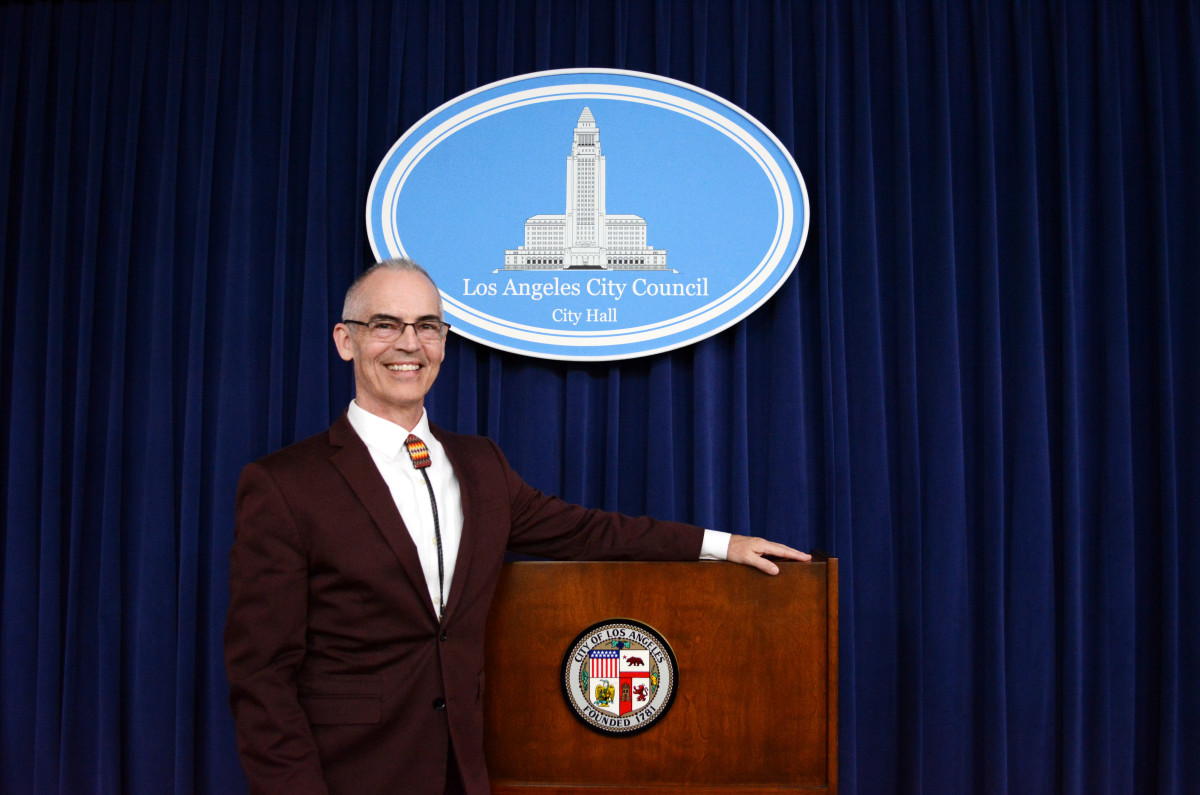 Los Angeles City Council member Mitch O'Farrell introduced the Navajo clean energy motion, which was finalized Feb. 21. The motion is part of LA's plan to be 55 percent dependent on renewable energy by 2025 and fully dependent on renewables by 2045. (Photo by Sarah Donahue/Cronkite News)