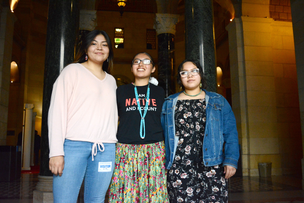 Sygourney Longknife Williams, Cheyenne L.E. Phoenix and Maya Sanchez, attended the Los Angeles City Council meeting on Feb. 19, 2020, to support the motion for Navajo clean energy. (Photo by Sarah Donahue/Cronkite News)