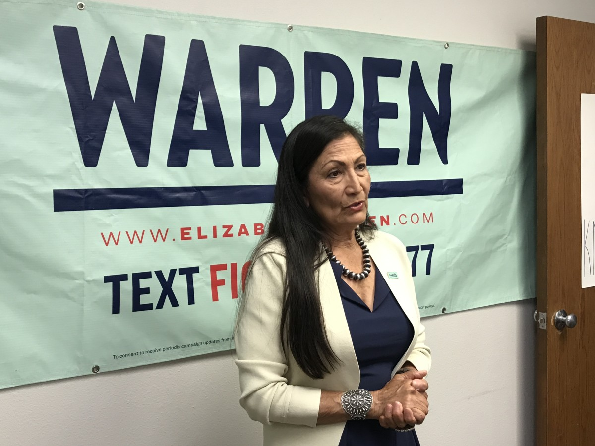 New Mexico Rep. Deb Haaland, Laguna Pueblo, speaks with the Warren campaign staff and supporters about her support for Sen. Elizabeth Warren running for president in the 2020 election in Sioux City, Iowa, in August 2019. (Photo by Jourdan Bennett-Begaye)