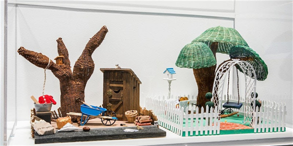 Pictured: 'Vermont Eugenics Dioramas: Two Backyards', 2010, Wood basketry and mixed media by Judy Dow.