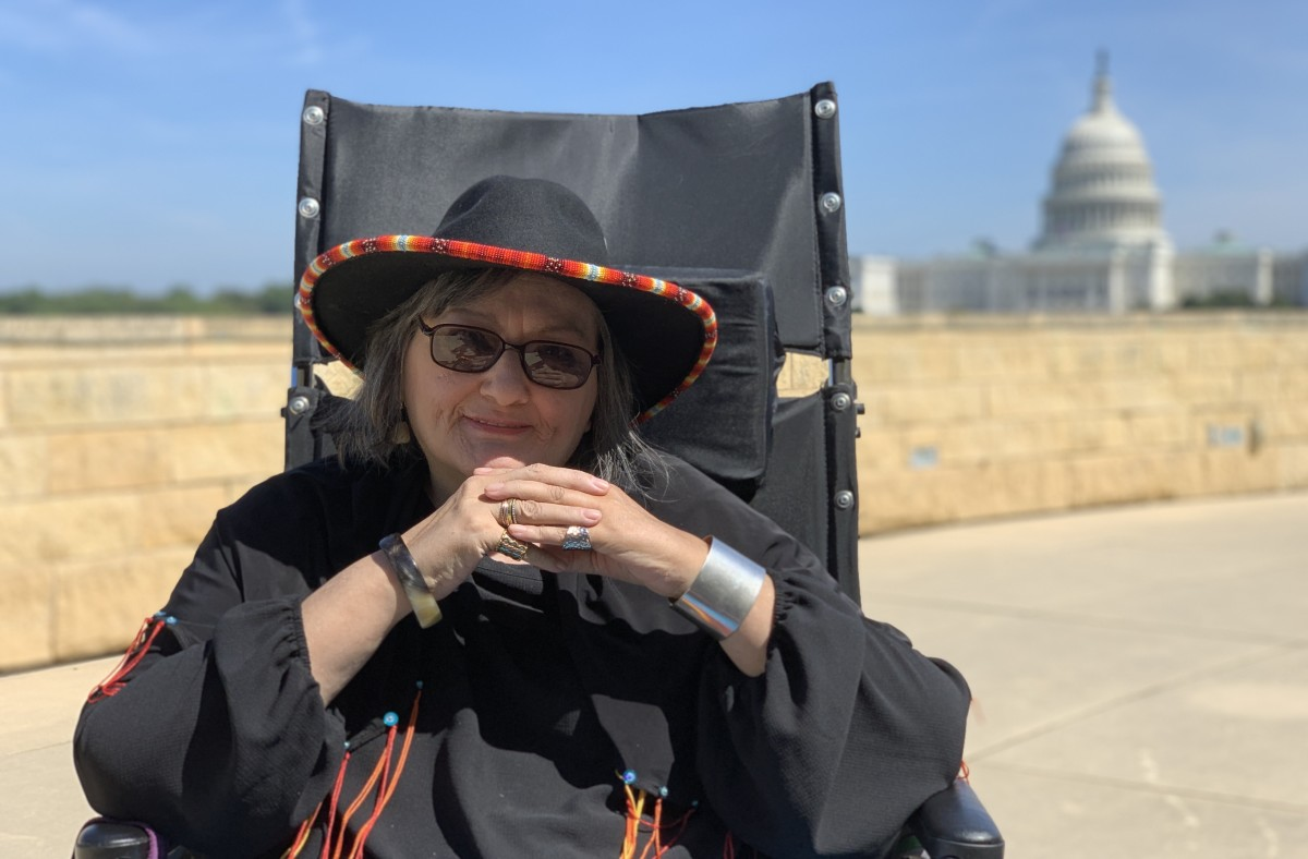 Suzan Harjo on the roof of the Smithsonian's National Museum of American Indian in Washington, D.C., in September 2019. (Photo by Jourdan Bennett-Begaye)