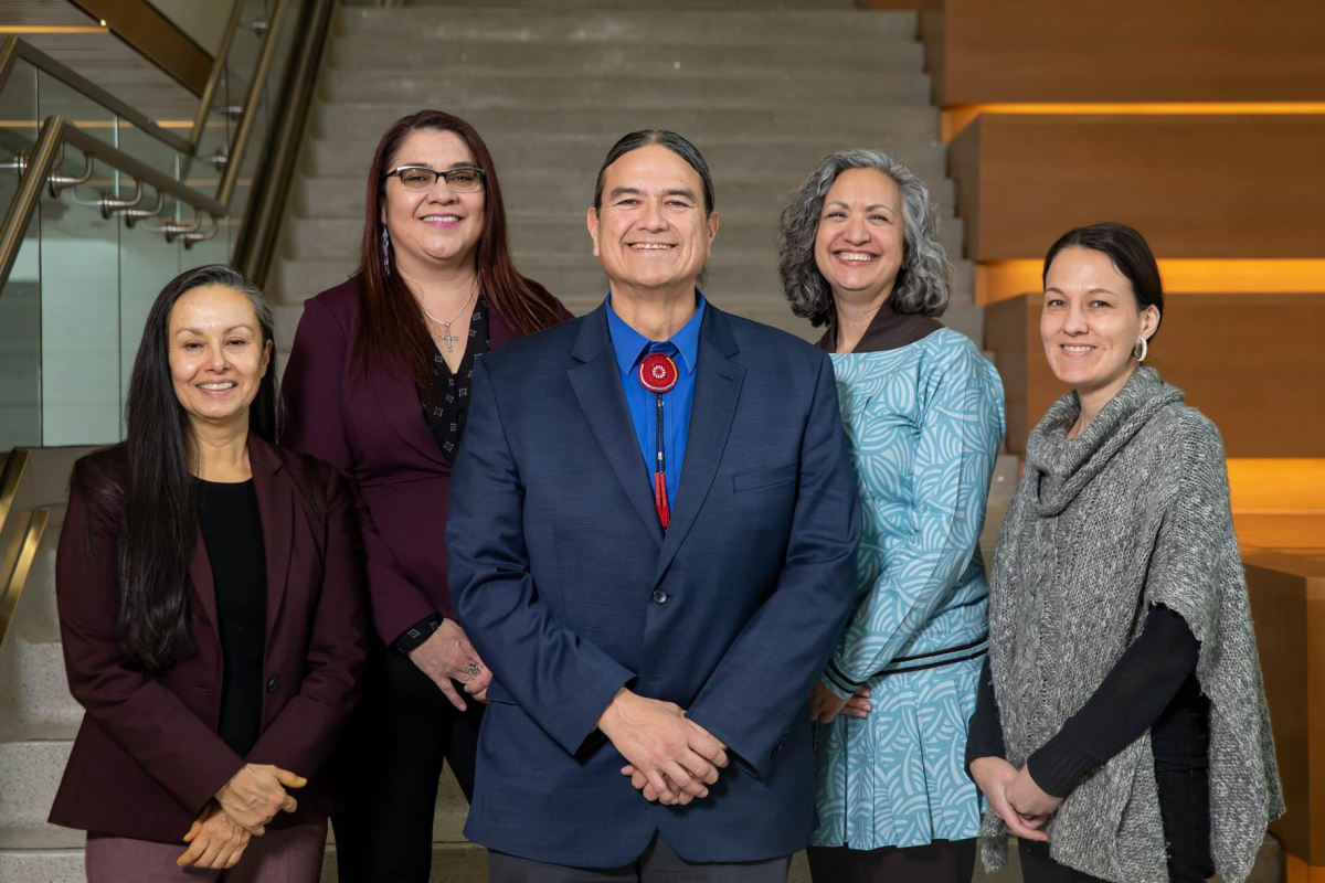Five Indigenous health professionals introduce a new program at University of North Dakota. (L to R): Dr. Running Bear, Dr. Nadeau, Dr. Warne, Dr. Wescott, Dr. Redvers. (Photo courtesy of the University of North Dakota)