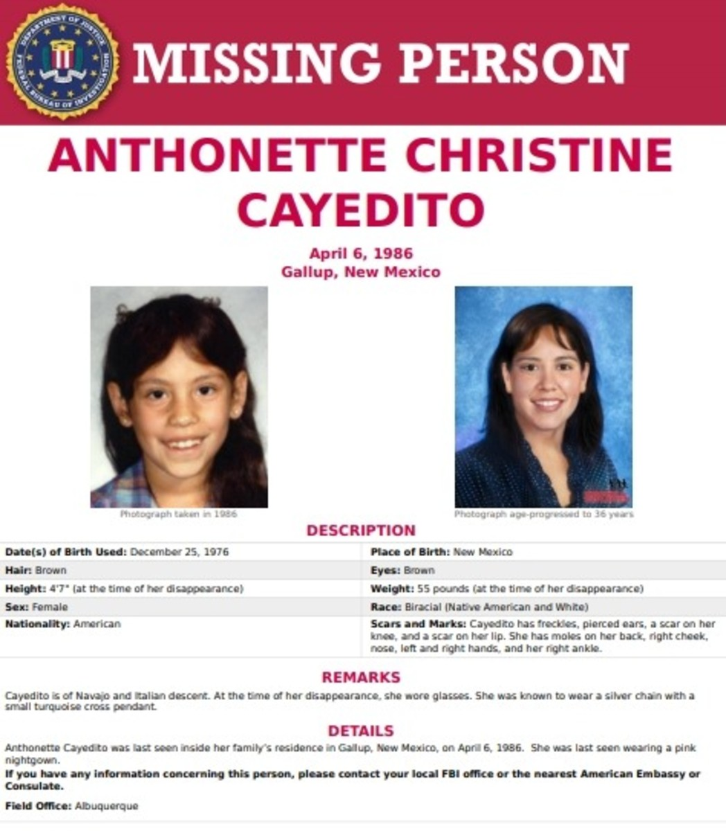 Anthonette Christine Cayedito - FBI Missing Person poster.