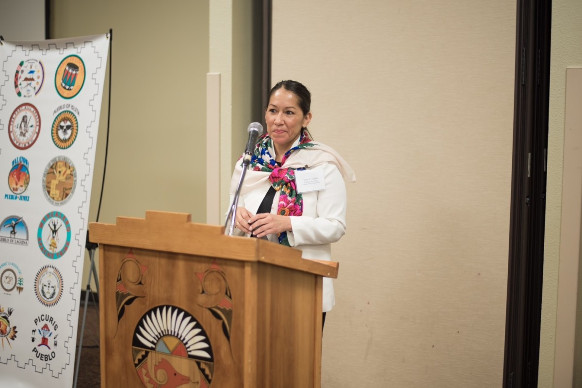 Lynn Trujillo, Sandia Pueblo, is the Cabinet Secretary of New Mexico's Indian Affairs Department. She spoke at a tribal leaders summit at the Indian Pueblo Cultural Center in May 2019.