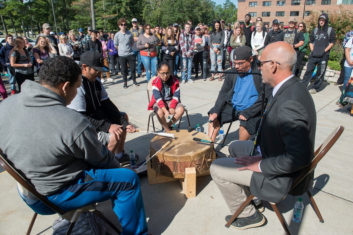 The Ojibwe Nation drum group plays an honor song at the Day of Welcome. (Bemidji State University, Facebook)