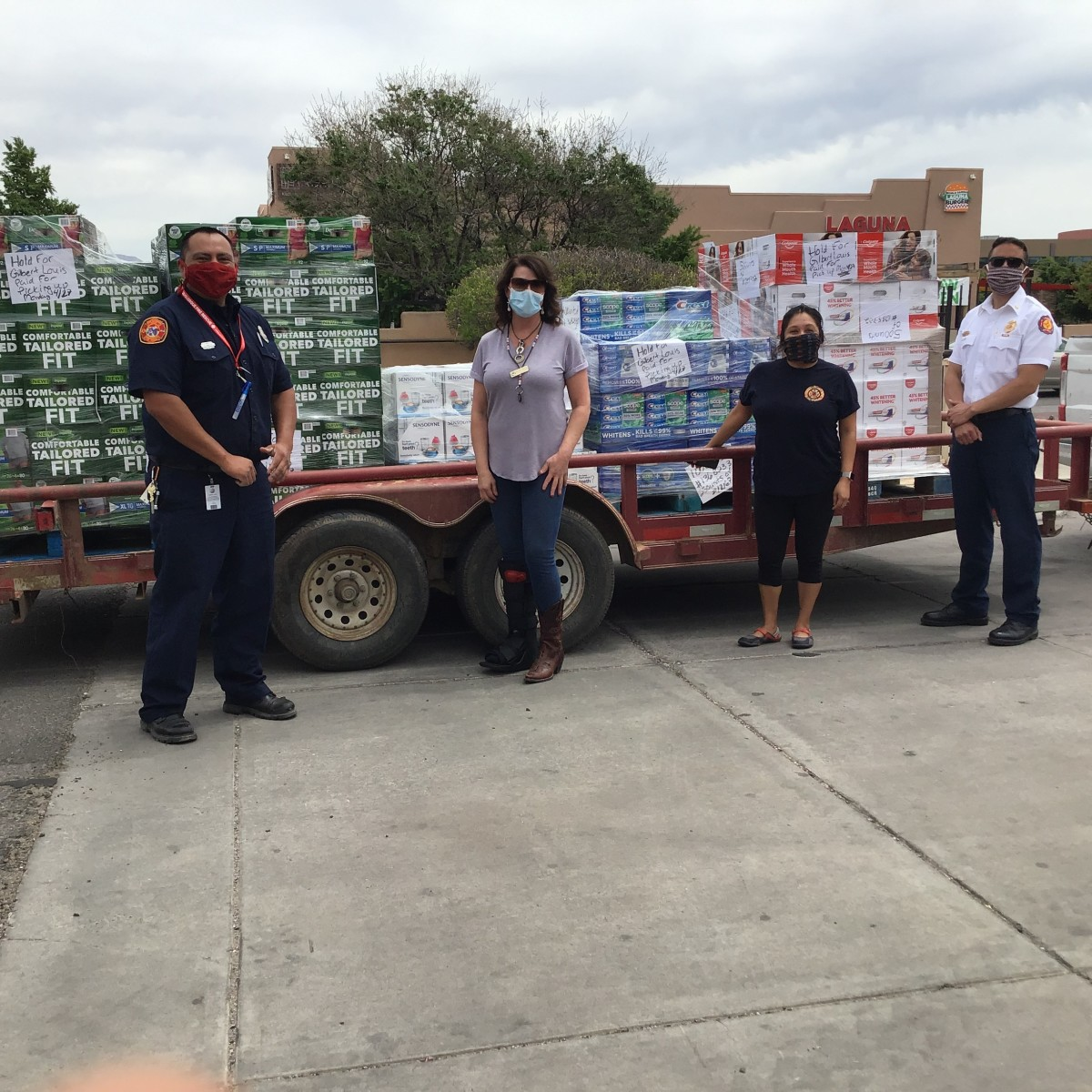 Pictured: Preparation for a New Mexico Pueblo Relief Fund delivery.