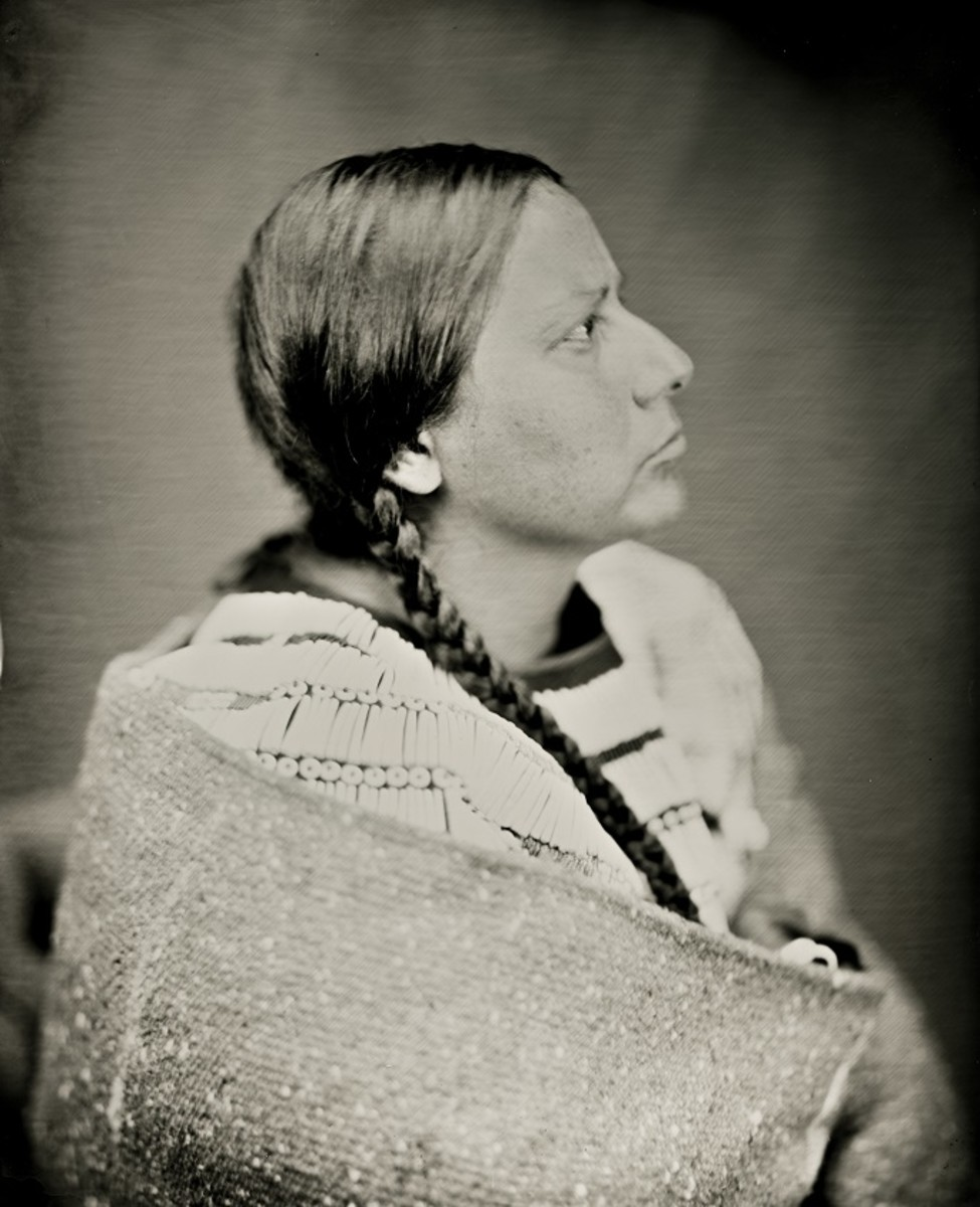 Margaret Landin, Arikara Hidatsa Assiniboine, collaborates with Balkowitsch as his liaison. In this photo, she is wearing a beaded cape she was gifted. (Photo by Shane Balkowitsch)
