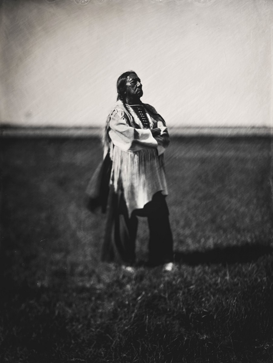 Balkowitsch's series began with he photographed Ernie LaPointe, Lakota, the great-grandson of Sitting Bull. Photographer Orlando Scott Goff captured his great-grandfather generations before using the same method. (Photo by Shane Balkowitsch)