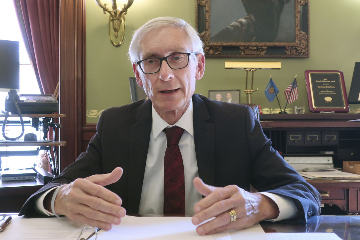 In this Dec. 4, 2019 file photo, Wisconsin Gov. Tony Evers speaks during an interview with The Associated Press in his Statehouse office in Madison, Wis. Evers' administration overstepped its authority when it unilaterally extended the governor's stay-at-home order through the end of May, the state Supreme Court ruled Wednesday, May 13, 2020. (AP Photo/Scott Bauer, File)