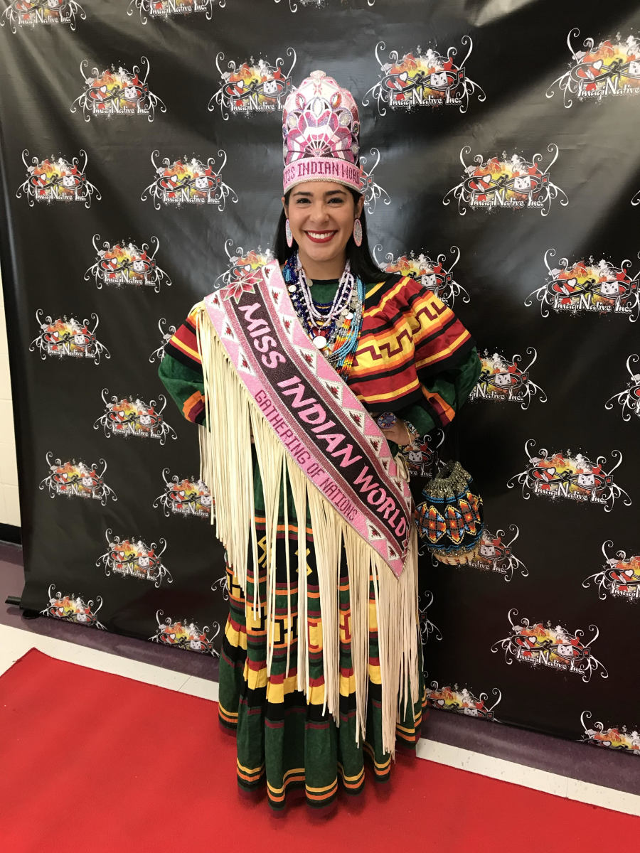 Cheyenne Kippenberger as a judge at the Three Affiliated Tribes youth talent show in New Town, North Dakota. (Photo courtesy of Miss Indian World Cheyenne Kippenberger)