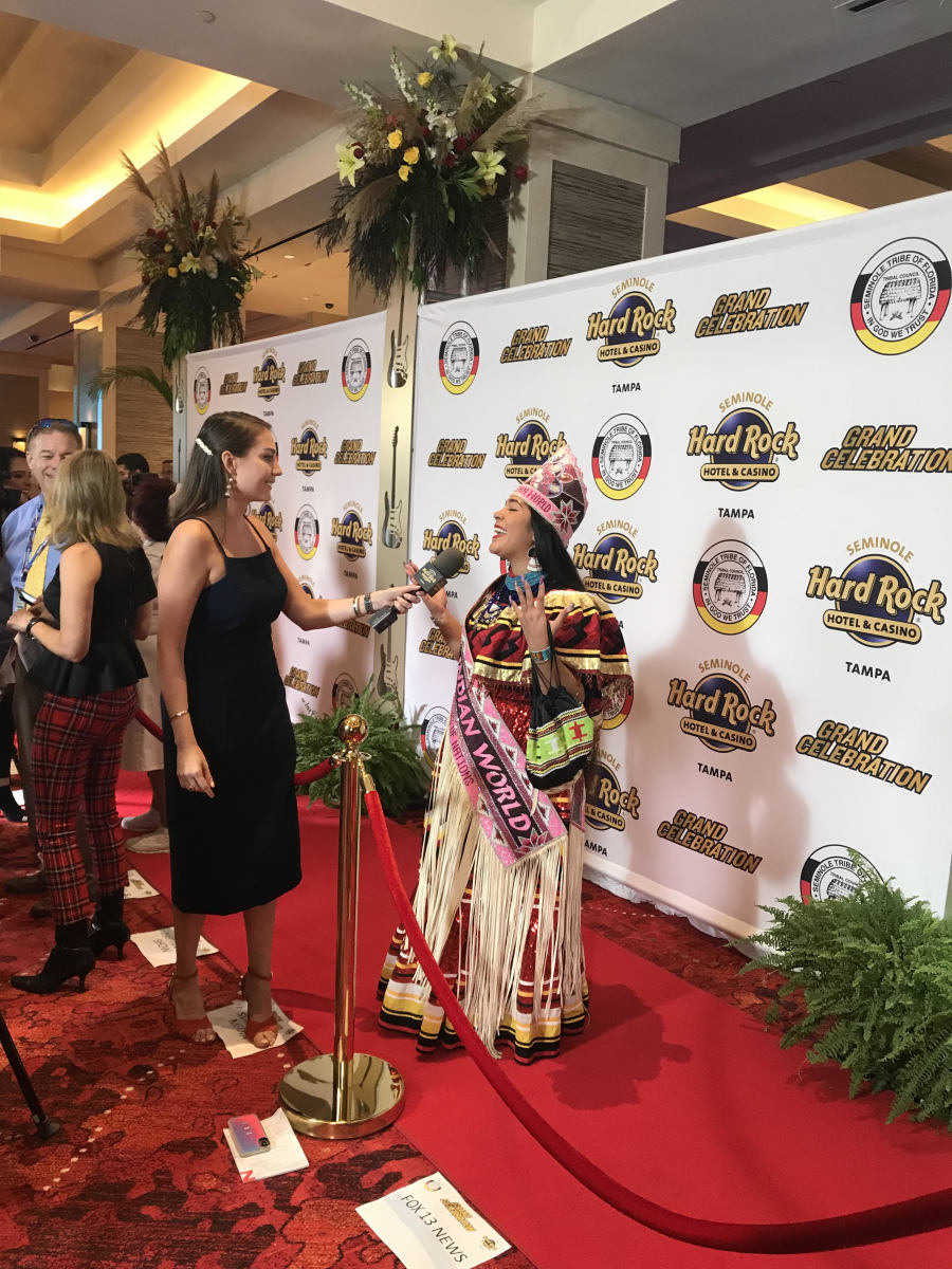 Miss Indian World on the VIP red carpet of Seminole Hard Rock Hotel and Casino's grand celebration of a new expansion in Tampa, Florida. (Photo courtesy of Miss Indian World, Emergence Productions)