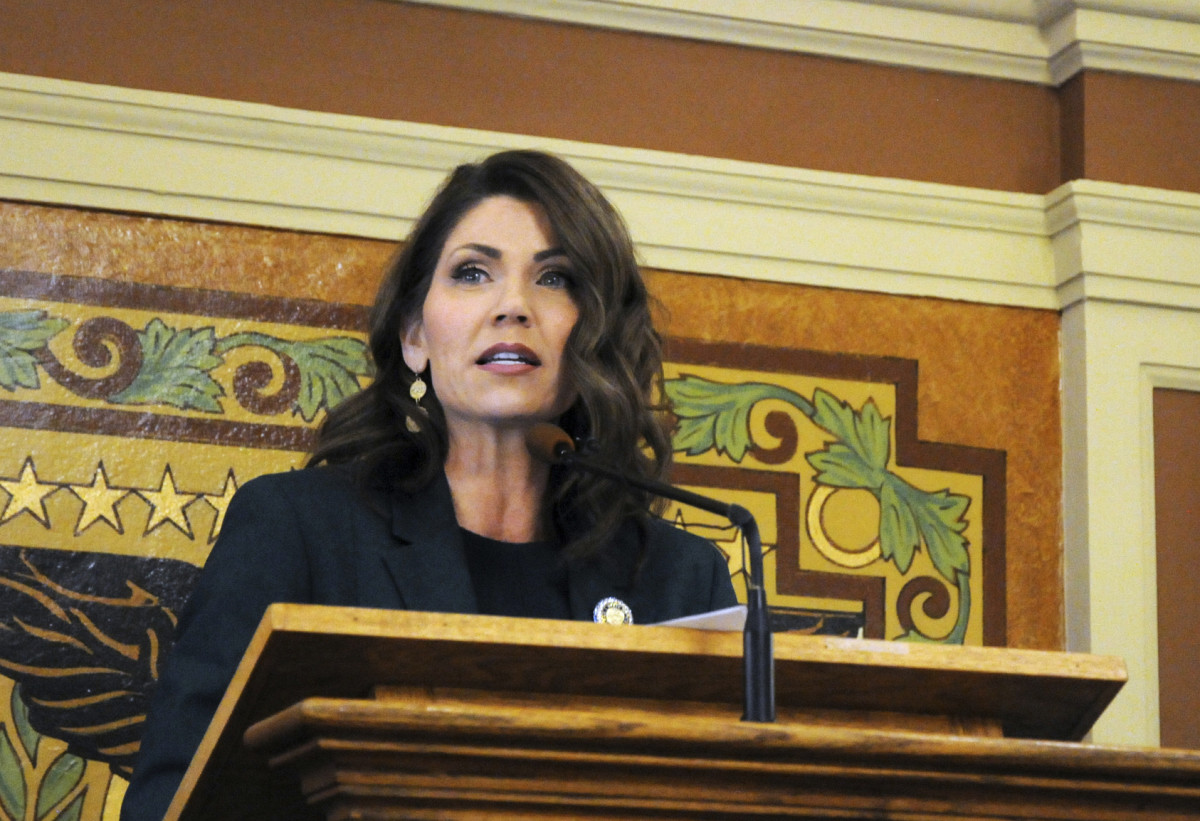 In this Jan. 23, 2019, file photo, Gov. Kristi Noem gives her first budget address to lawmakers at the state Capitol in Pierre, S.D. Noem will use her State of the State address to pitch prospective businesses on why they should move to South Dakota, the Republican governor told The Associated Press in an exclusive interview on Sunday, Jan. 12, 2020. (AP Photo/James Nord, File)