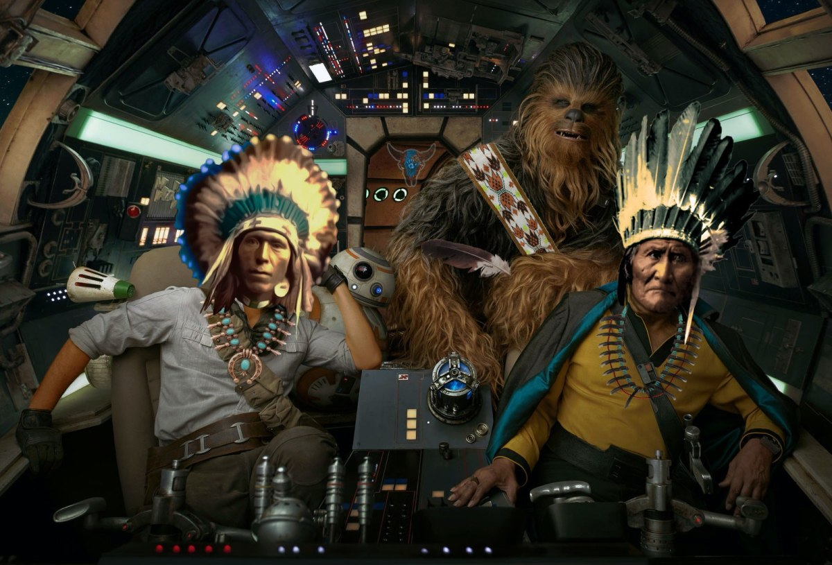 """""""Indn Star Wars"""" digital collage printed on canvas by Roger Sosakete Perkins"""