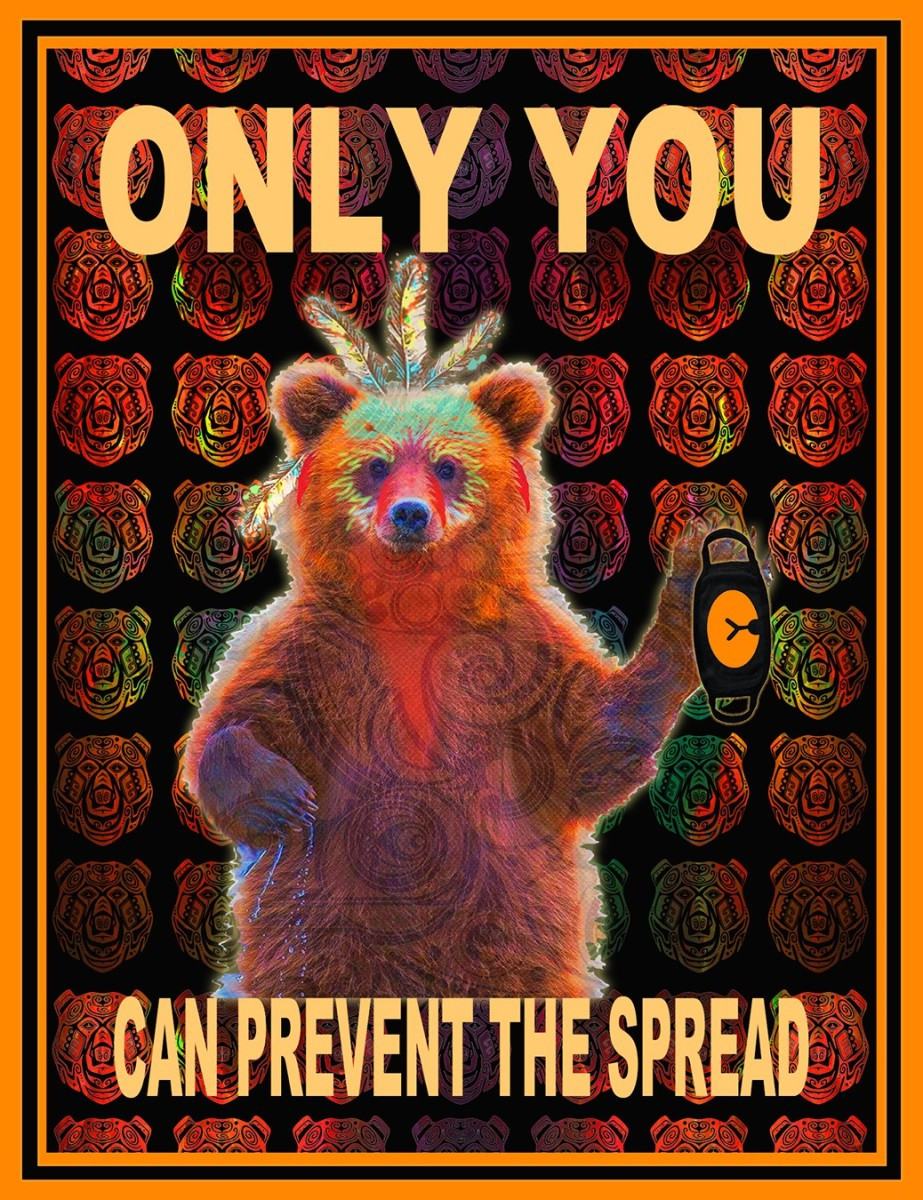 """""""Bear Greeting"""" digital collage printed on canvas by Roger Sosakete Perkins"""