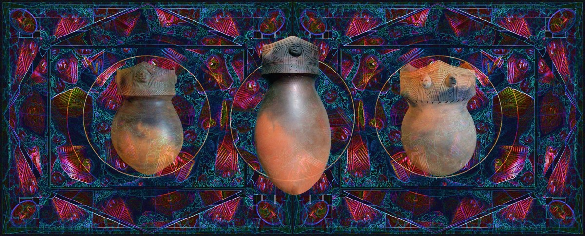 """""""Traditional Mohawk Pottery"""" Cooking Pots ceramics by the artist reproduced into a digital collage by Roger Sosakete Perkins"""